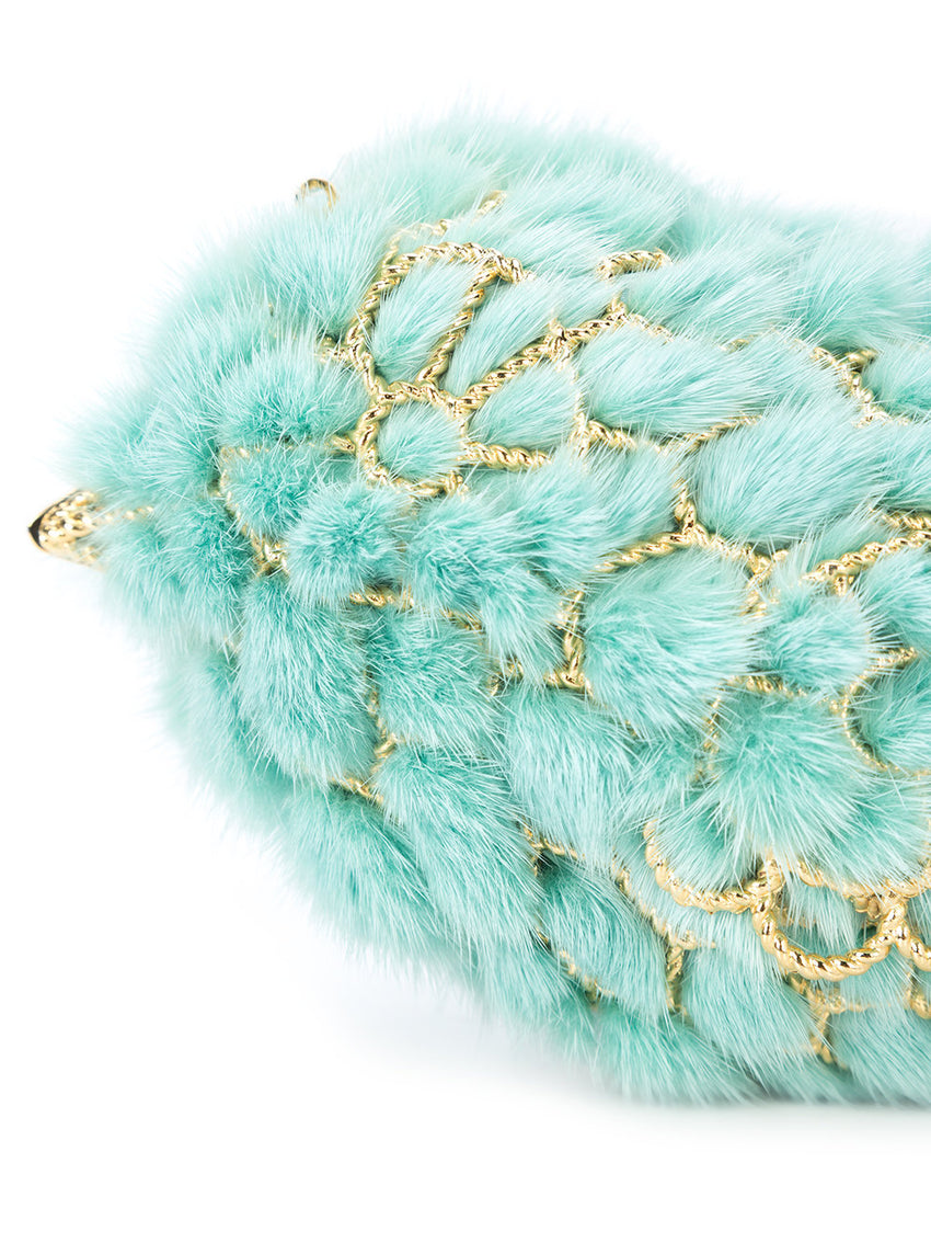 Crochet Metal Mink Fur Lined Clutch