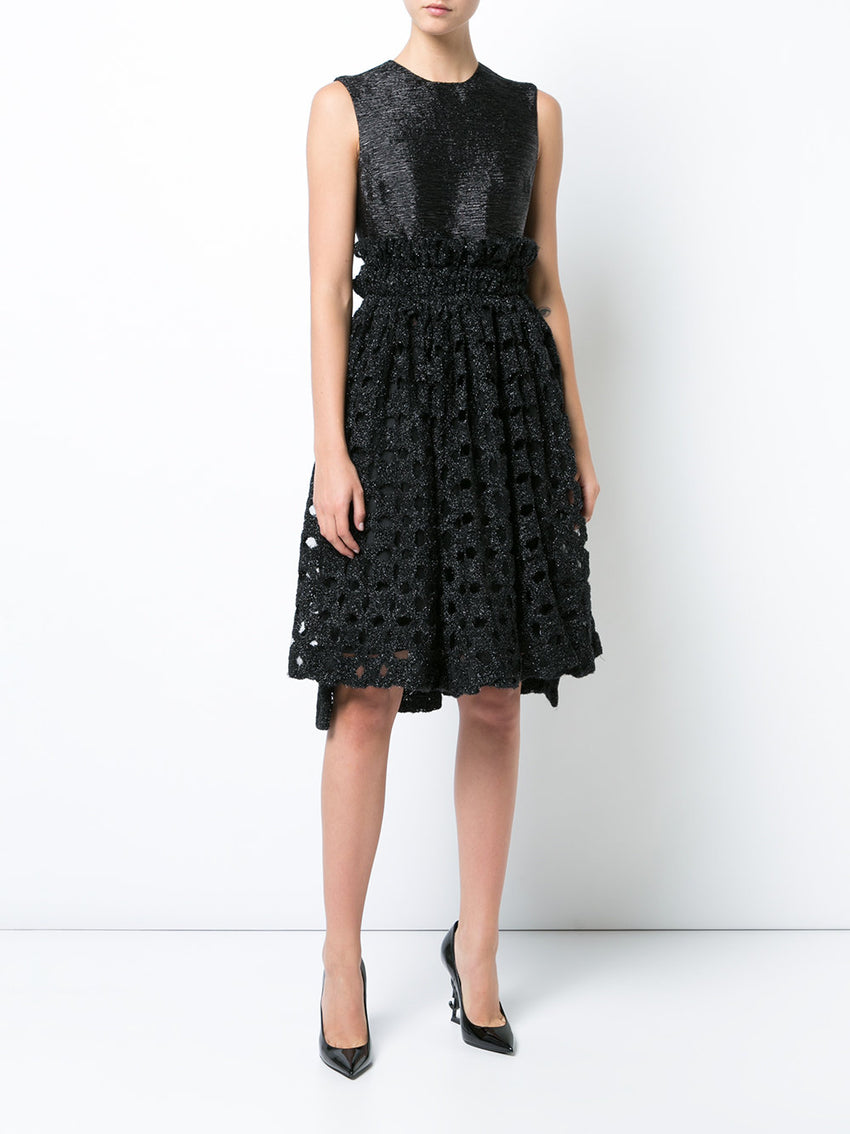 Black Sparkling Lace Gathered Midi Dress