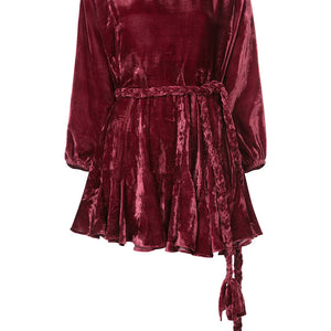 Ella Velvet Dress Burgundy Leaf