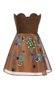 Short Dress Print on Brown Base