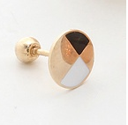 Round Disc Black/White Earring