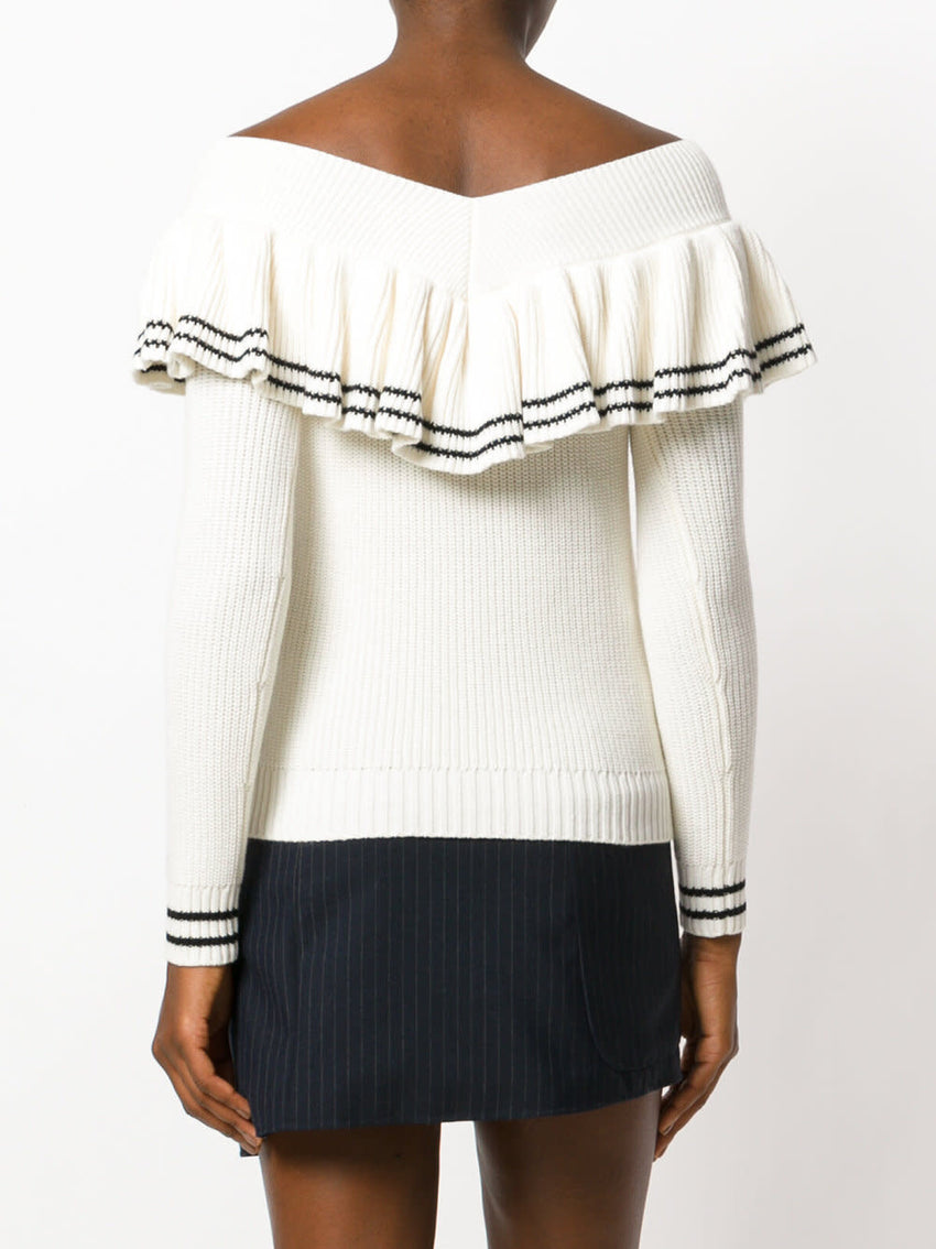 Striped Off Shoulder Sweater