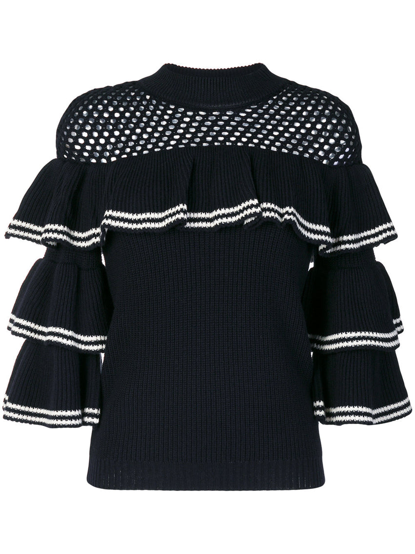 Striped Frill Sweater