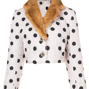 Polka Dot Mink Collar Cropped Jacket