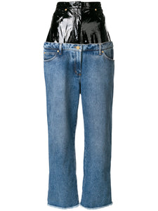 Denim/Patent Leather Double Jeans