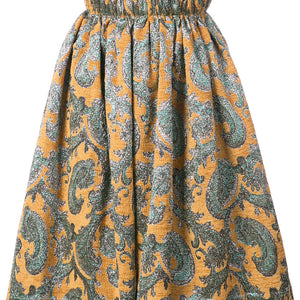 Mustard Palace Gathered Midi Skirt