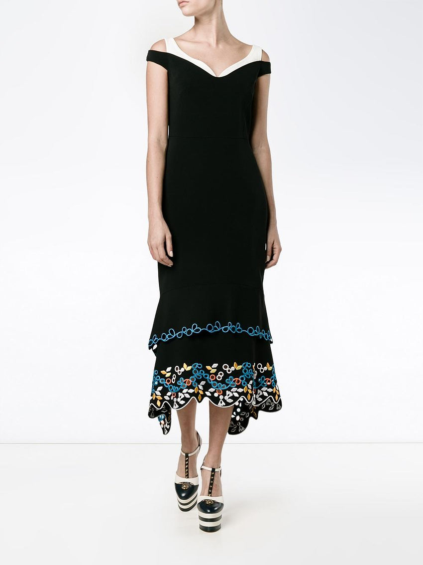 Peter Pilotto Embroidered Tier Dress, Black, US 10