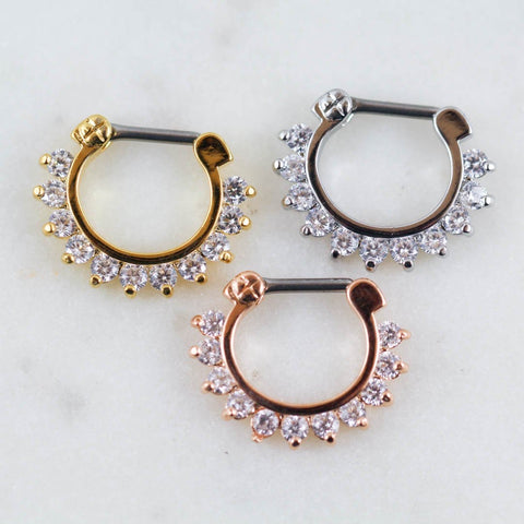 Septum Clicker Crystal Septum Clicker Gem Septum Ring Septum Hoop Septum Jewlery