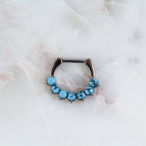 Turquoise Septum Ring Turquoise Septum Clicker Turquoise Septum Ring Facial Piercing Jewelry Maria Tash Body Candy