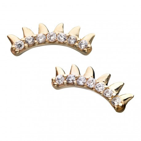 14kt Gold Threadless Spiked Crystal Curve Labret CUSTOM ORDER