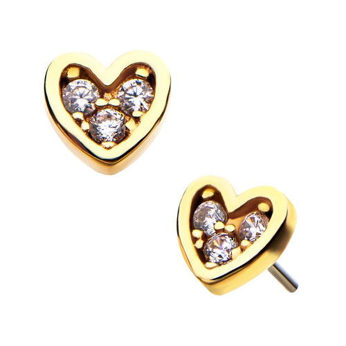 14kt Gold Threadless Paved Heart Labret CUSTOM ORDER