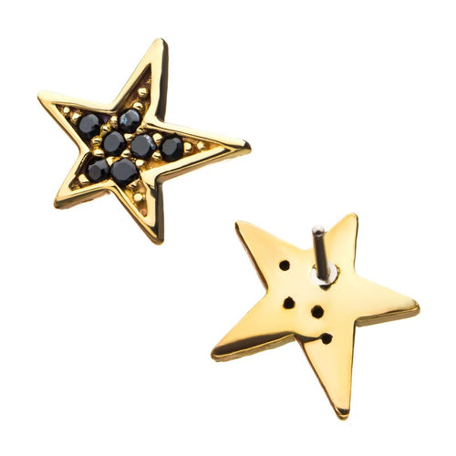 14kt Gold Threadless Black Gem Star Labret CUSTOM ORDER