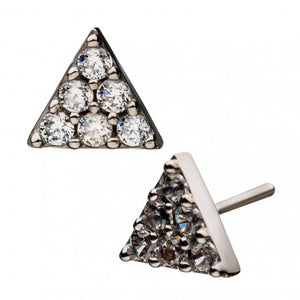 14kt White Gold Threadless Paved Triangle Labret CUSTOM ORDER