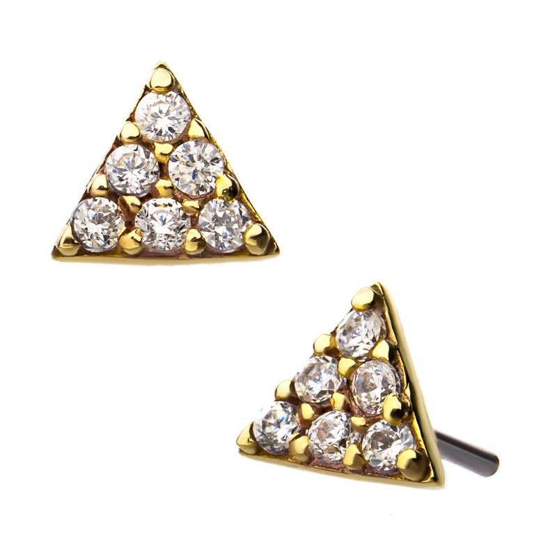 14kt Gold Threadless Paved Triangle Labret CUSTOM ORDER