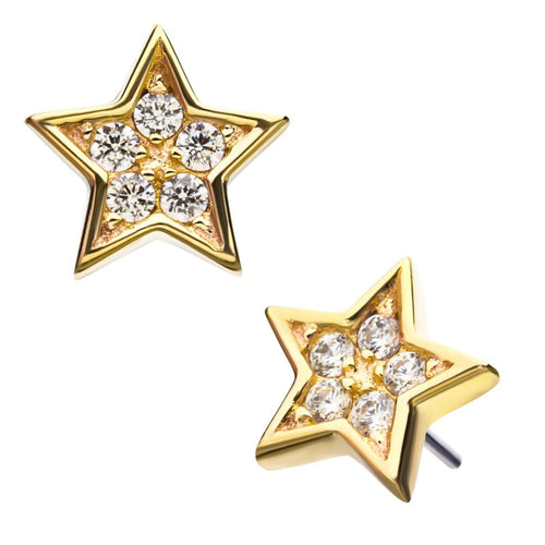 14kt Gold Threadless Paved Star Labret CUSTOM ORDER