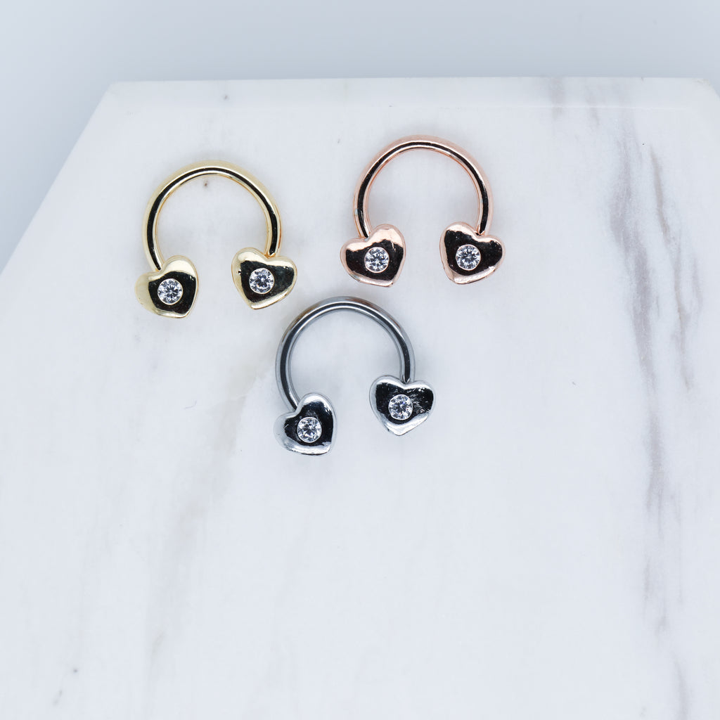 Cute Heart Horseshoe Piercing Jewlery for Septum Daith or Cartilage/Helix Piercings in Gold, Rose Gold, or Silver