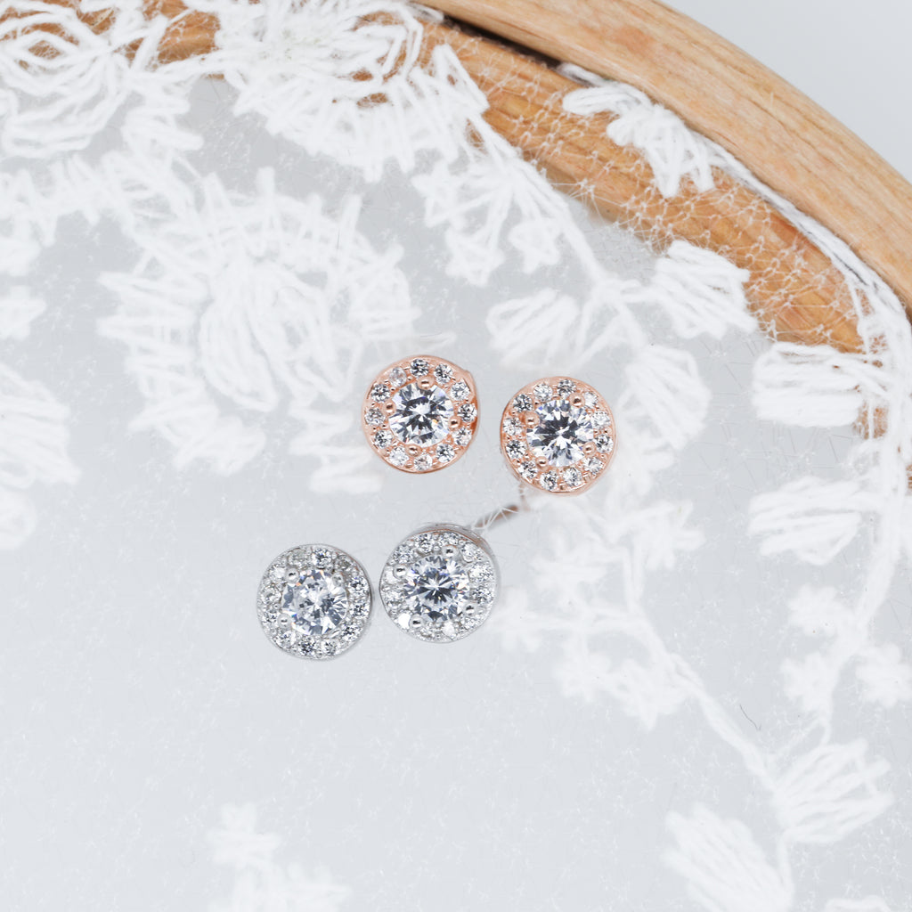 Crystal Round Earrings Cute Hypoallergenic Stud Earrings