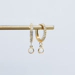 Opal Drop Huggie Hoop Earrings (Pair)