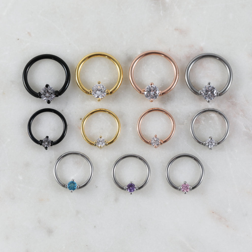 Crystal Captive Bead Ring Piercing Hoop for Septum, Daith, Cartilage, or Conch Piercings
