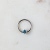 Silver and Blue Crystal Captive Bead Ring Piercing Hoop
