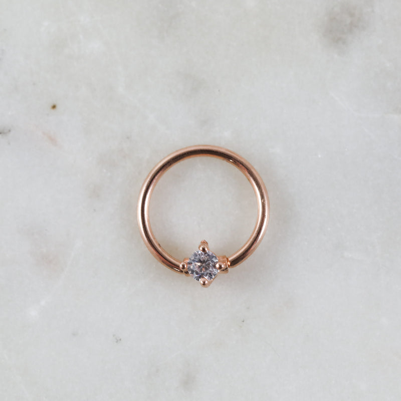 Rose Gold Crystal Captive Bead Ring Piercing Hoop