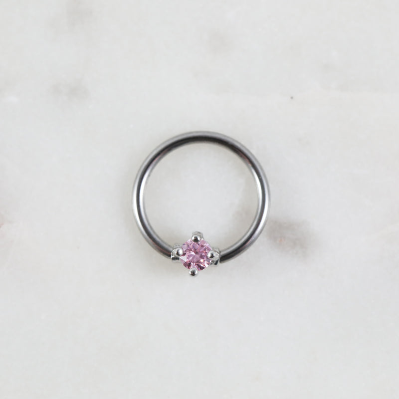 Silver and  Pink Crystal Captive Bead Ring Piercing Hoop