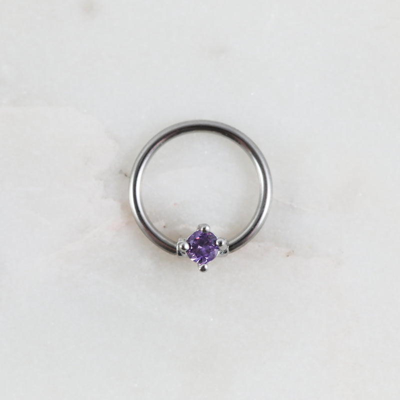 Silver and Purple  Crystal Captive Bead Ring Piercing Hoop