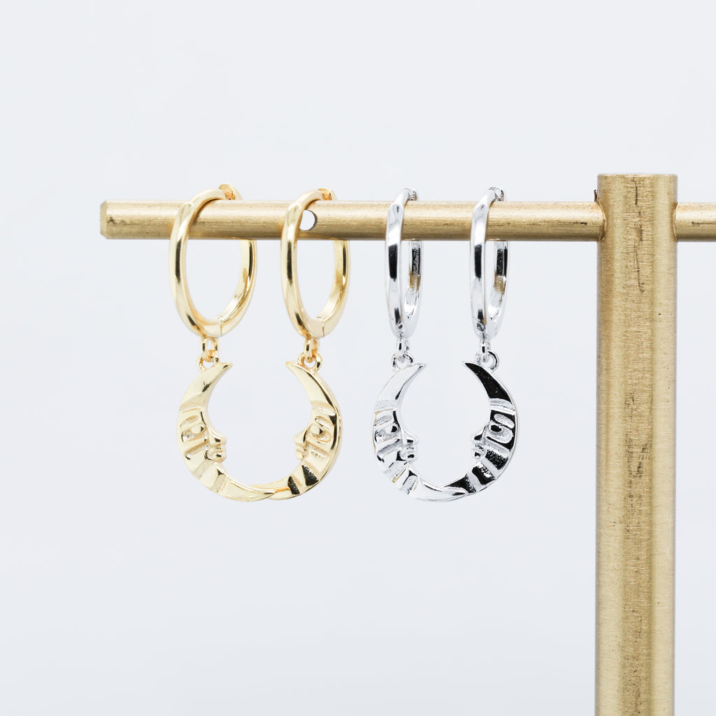 Moon Huggie Hoop Earrings Cute Moon Face Earrings for Women
