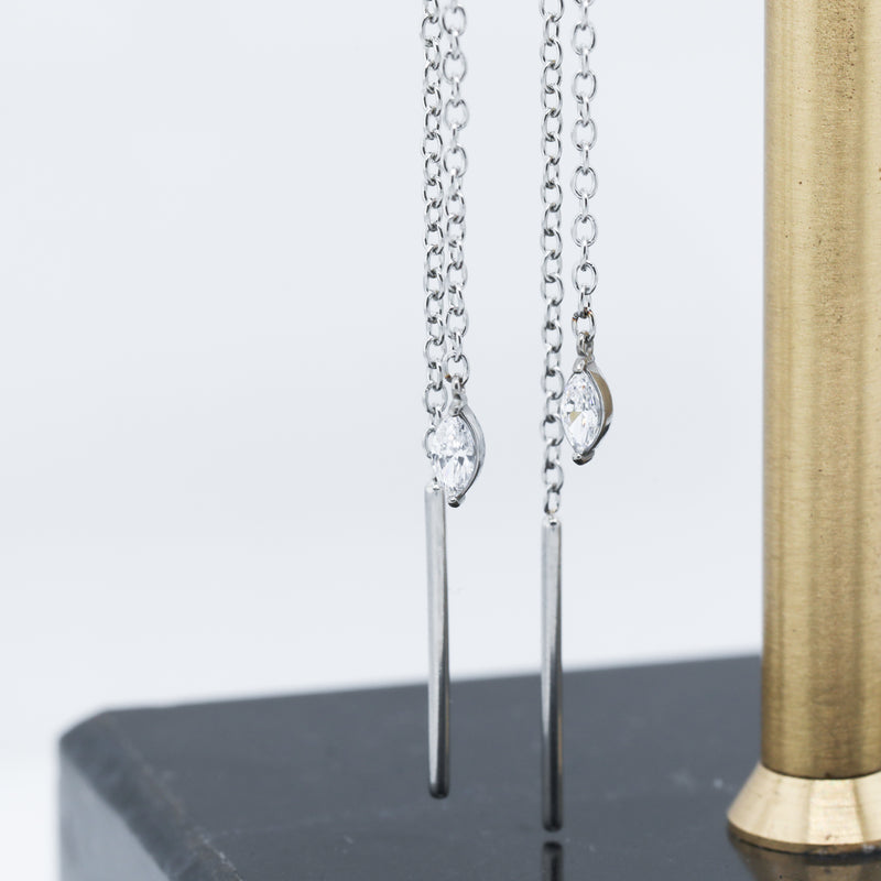Marquise Threader Earrings Long Elegant Chain Earrings for Women