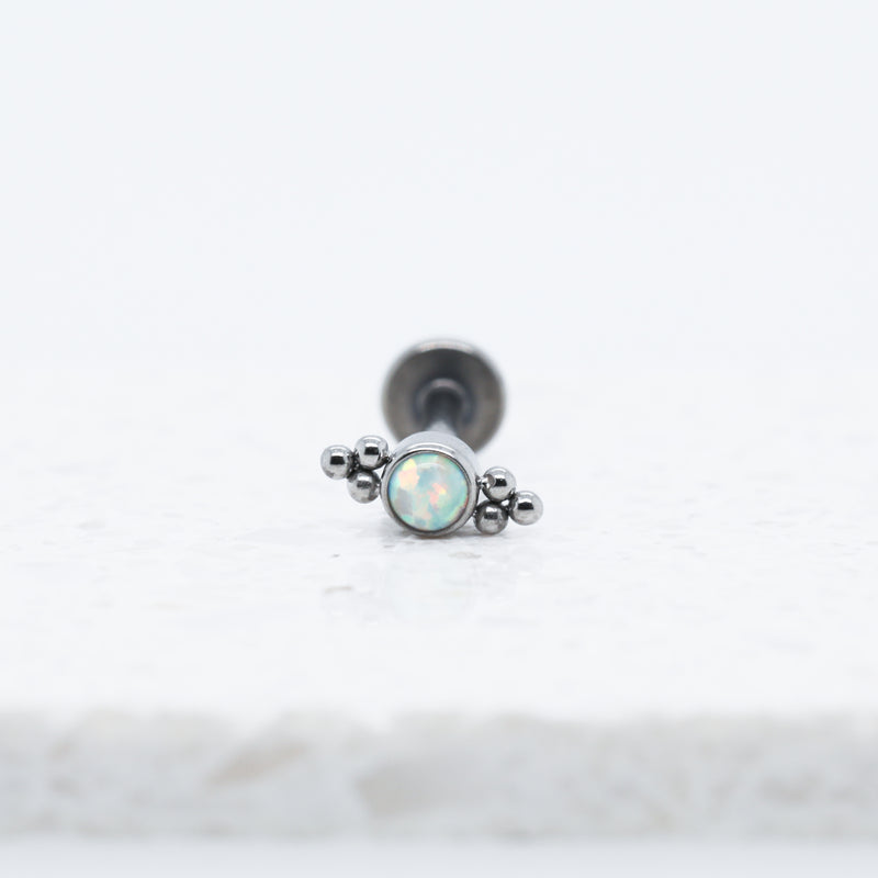 Threadless Titanium Ava Labret Piercing Stud with Opals. Safe for Initial Piercings.