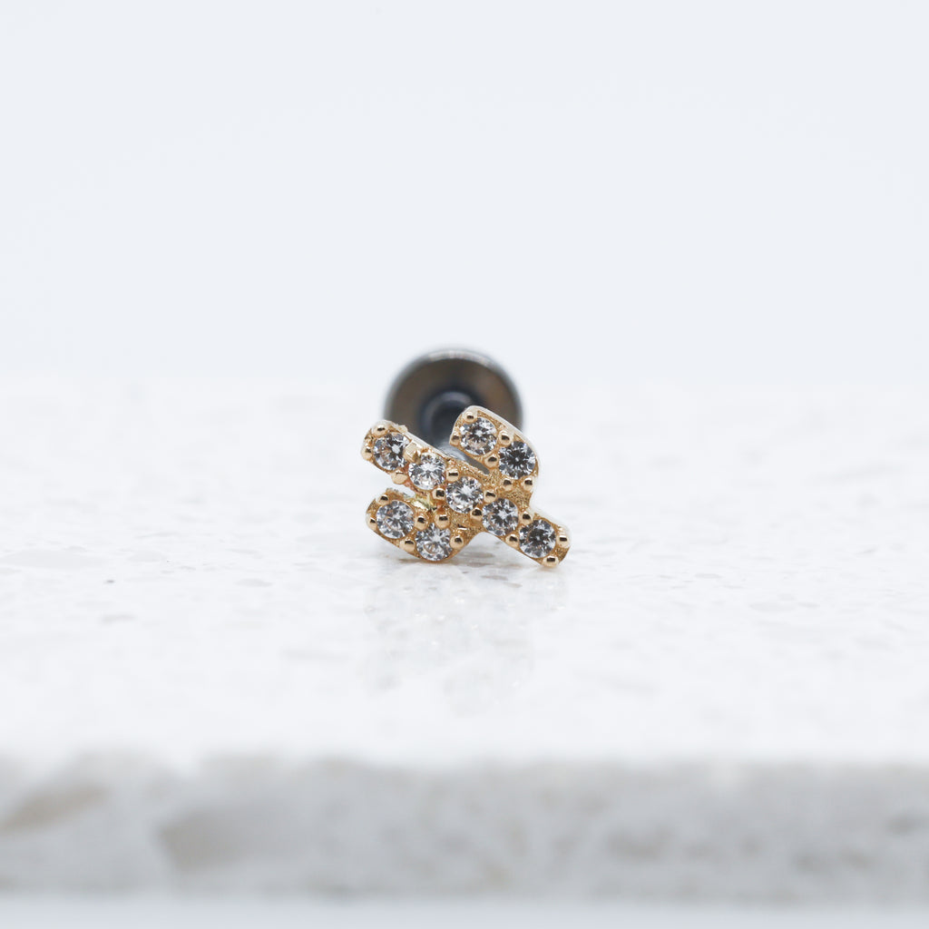 14kt Gold Threadless Cactus Labret Piercing Stud