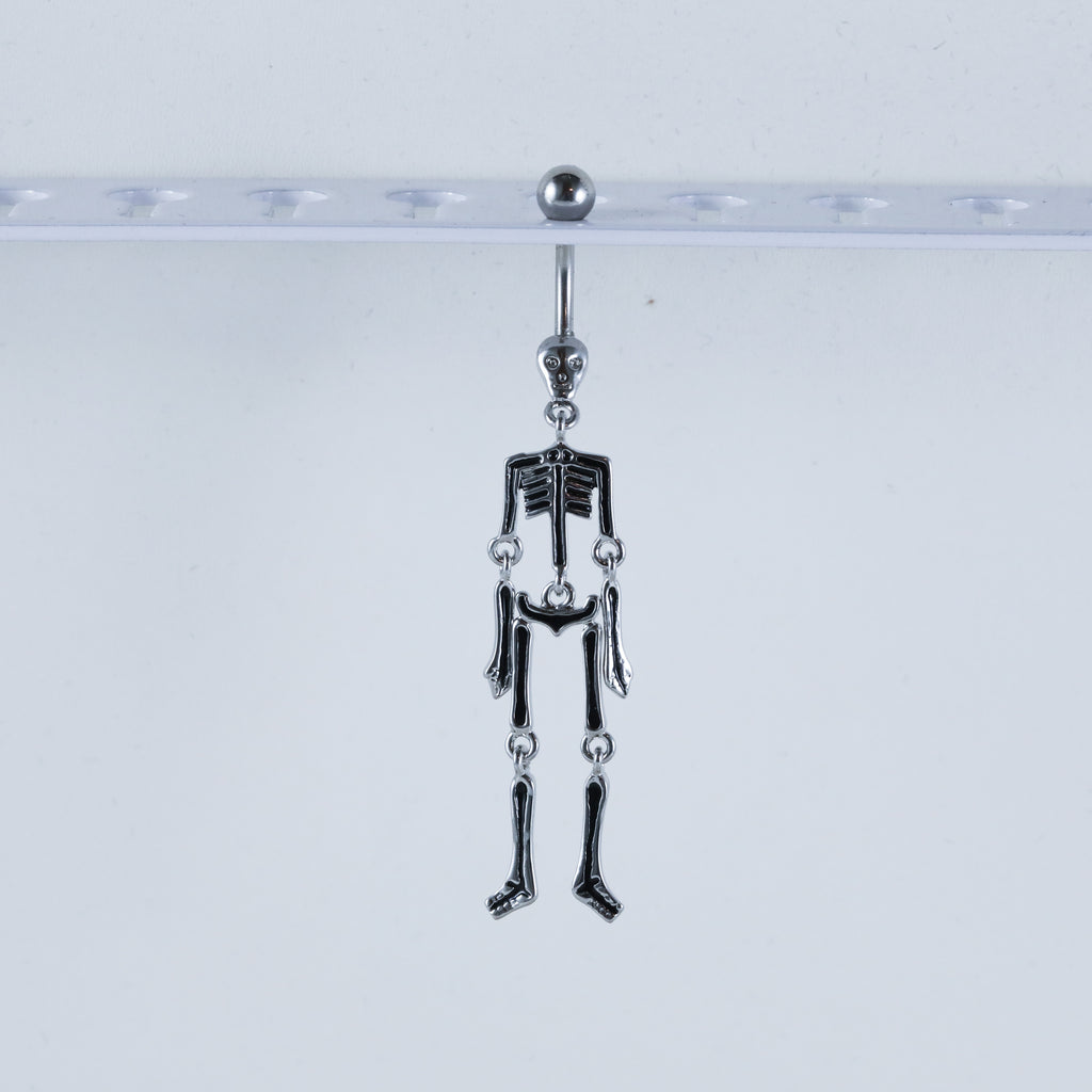Skeleton Belly Button Piercing Jewelry with Moving Bones Cute Skeleton Jewelry for Navel Piercings