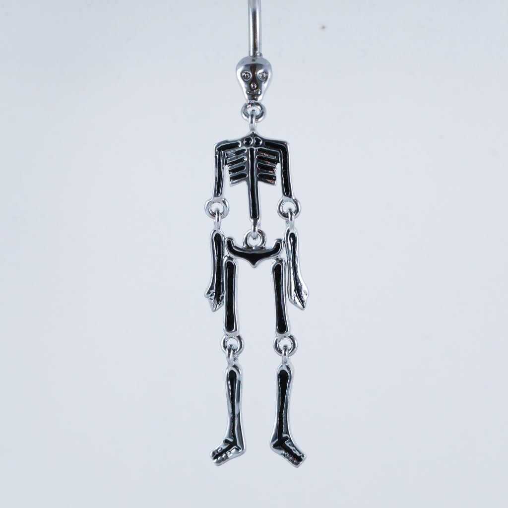 Close Up of Skeleton Belly Button Ring with Moving Bones