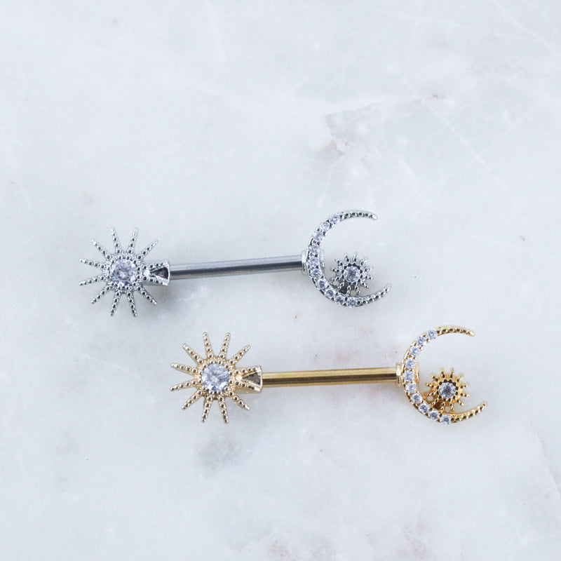Star & Moon Nipple Barbell