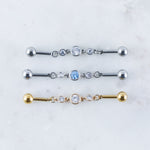 Linked Crystal Industrial Barbell in Silver and Gold
