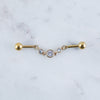 Linked Crystal Industrial Barbell in Gold