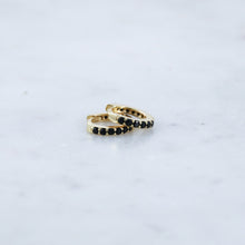 Black Gem Huggie Hoop Earrings (Pair)