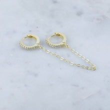 Chain Linked Crystal Huggie Hoop Earring