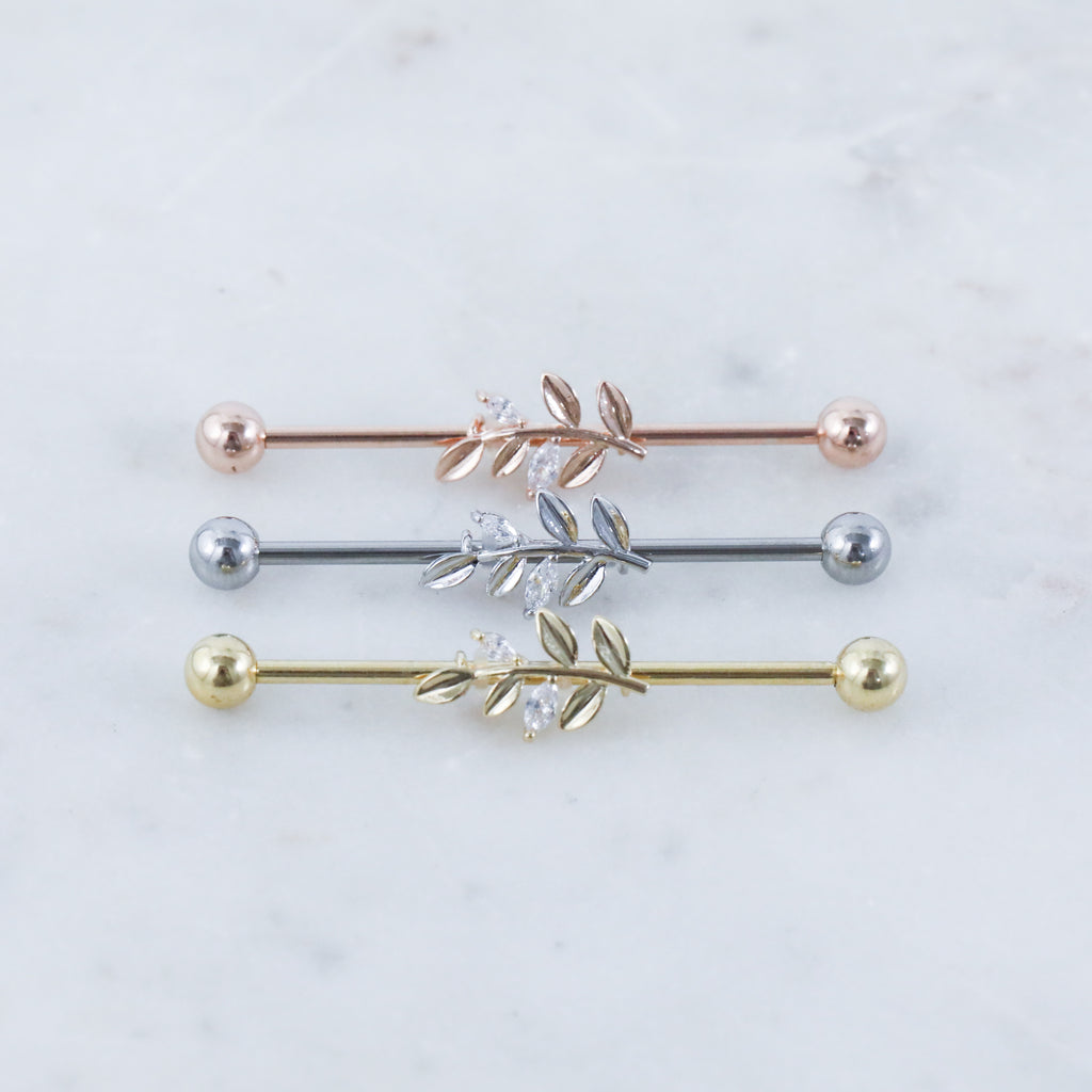 Crystal Vine Industrial Piercing Jewelry in rose gold, silver, or gold