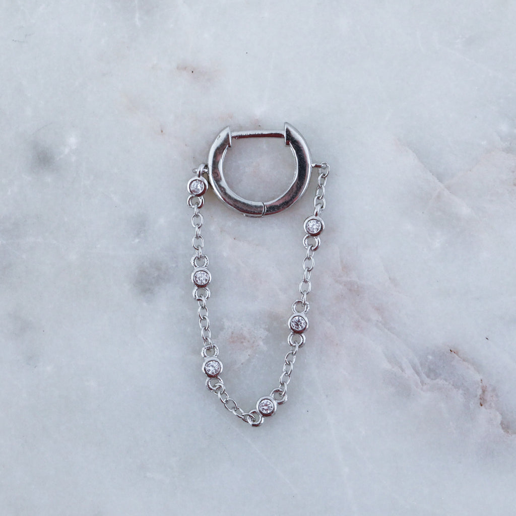 Chain Bezel Drop Huggie Hoop Earring (Single)
