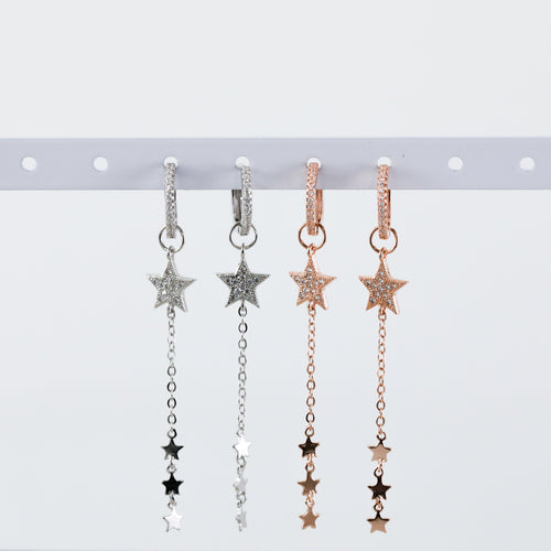 Star Dangle Huggie Hoop Earrings (Pair)