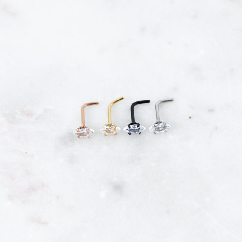 Marquise Nose Ring Crystal Nose Stud Piercing Jewelry