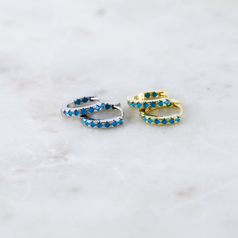 Turquoise Huggie Hoop Earrings (Pair)