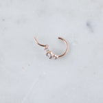Guinevere Hinged Seam Ring, a Hoop For Conch Piercing in Rose Gold, How to Open Conch Hoop