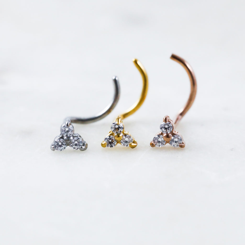 Crystal Trinity Nose Ring in Silver Gold or Rose Gold Nose Studs