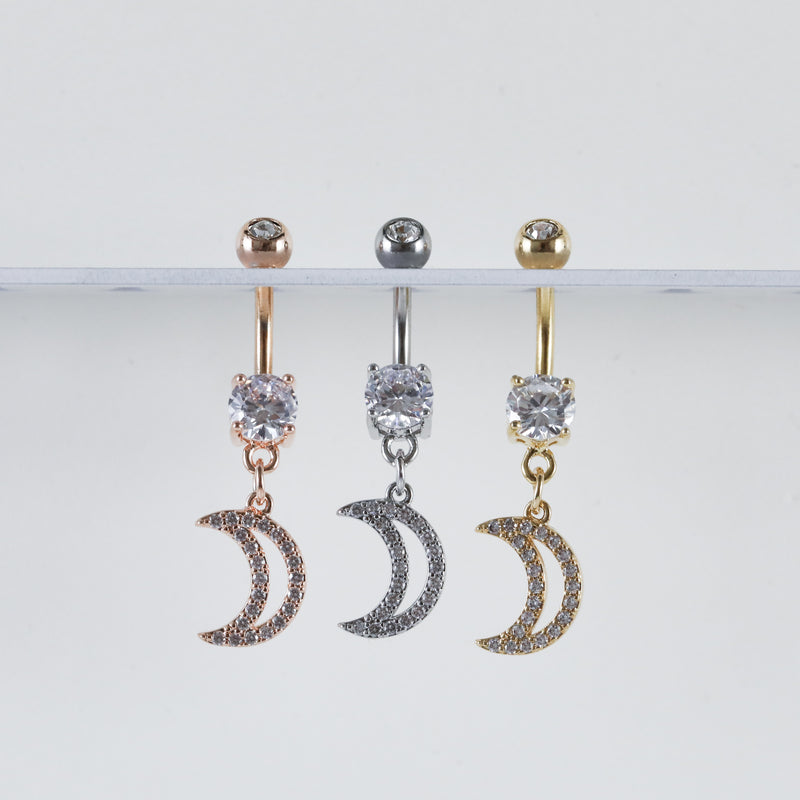 Crescent Moon Dangling Belly Ring Navel Piercing Jewelry Witchy Piercings