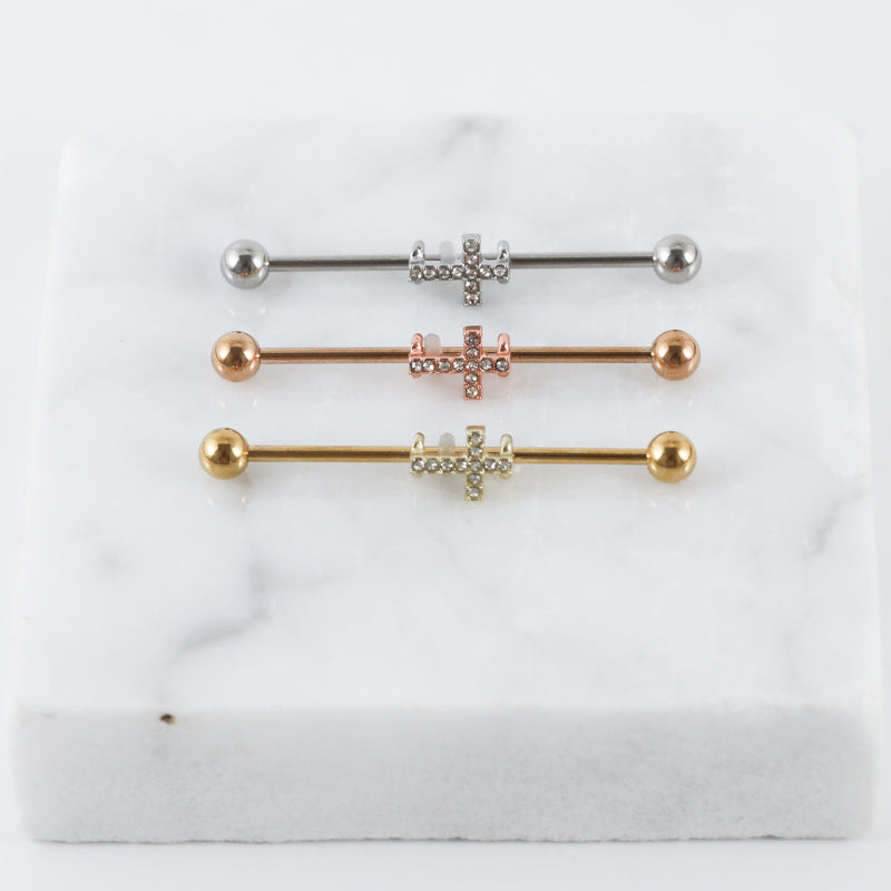Cross Industrial Piercing Jewelry Industrial Bar in Silver Gold or Rose Gold