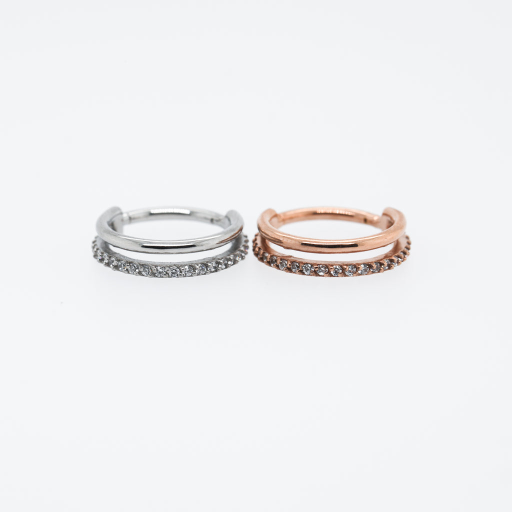 Duo Hinged Seam Ring 10mm Conch Hoop or 12mm Conch Hoop in Rose Gold or Silver with Crystals