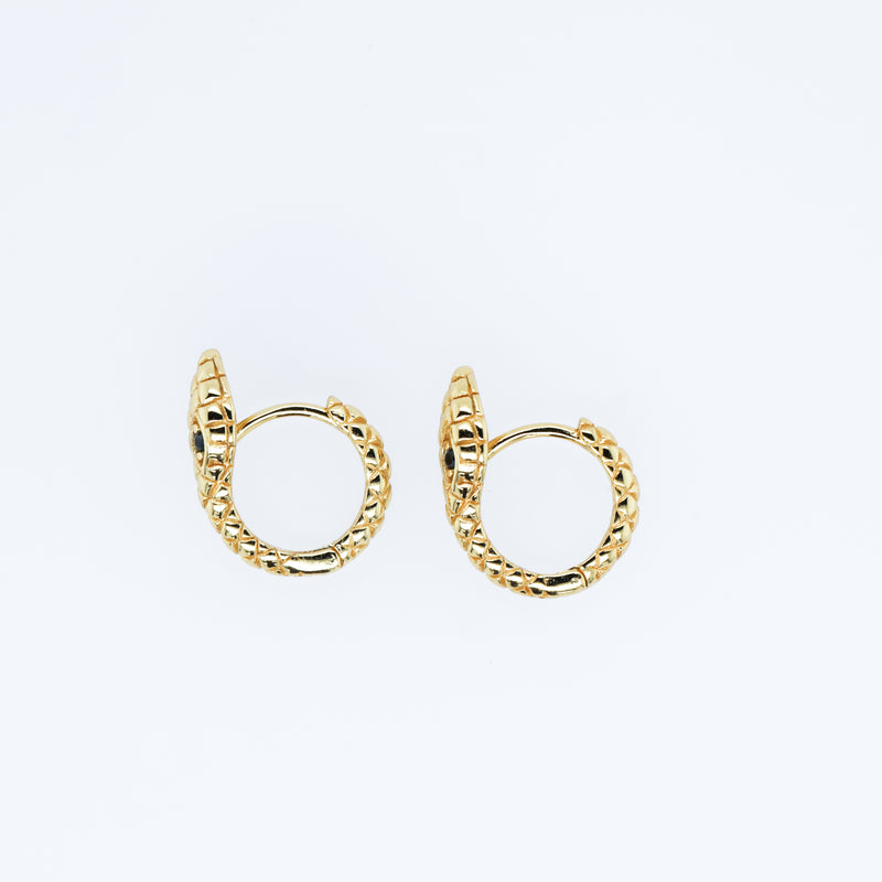 Ouroboros Huggie Hoop Earrings (Pair)