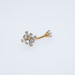 Gold Belly Button Ring with Clear Crystals